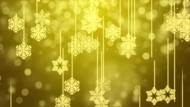 Zlaté třpytivé hvězdy a sněhové vločky částice pohybu smyčka 4K Pozadí.