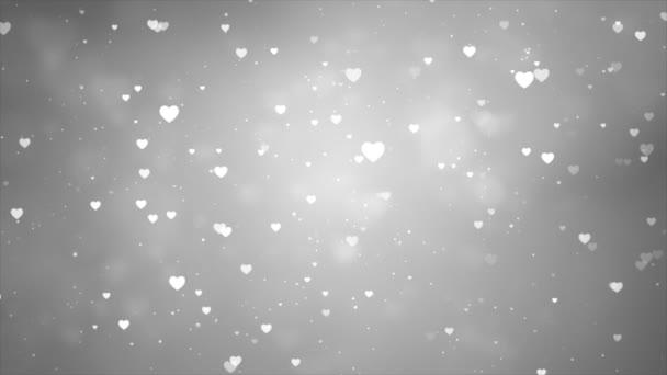 Abstrakt bílá srdce částice fade bokeh jiskra Confetti na pozadí šedé obrazovky.