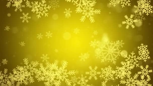 Zlaté padající sněhové vločky Sněhové hvězdy Prachové částice Bokeh Světelné smyčky Animace pozadí .