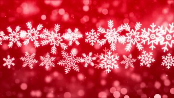 Červené třpytivé hvězdy a sněhové vločky částice pohybu smyčka 4K Pozadí.