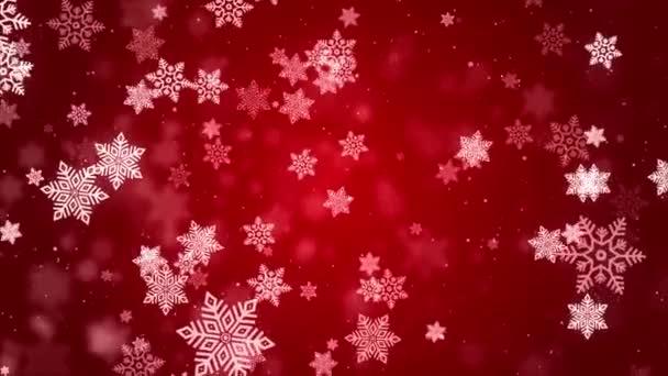 Zimní dovolená Snow Loop pozadí. Christmas Red Abstract Backdrop Sněhové vločky