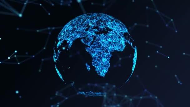 Föld földgömb forgó plexus mozgás háttér Zökkenőmentes hurok 4k animáció Alfa.