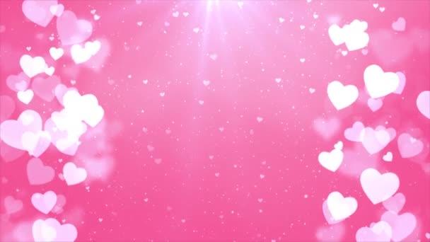 Valentýn Animovaný snímek růžových srdcí bezešvé smyčky pozadí.