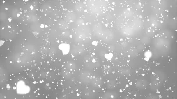 Weiße Liebe Herzen Bokeh funkeln Glitzerpartikel Bewegung Schleife Hintergrund
