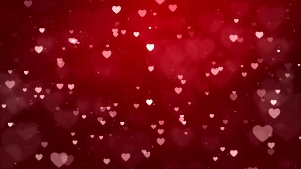Romantický třpyt zářící létající Srdce a Confetti Red Gradient Loop Pozadí.