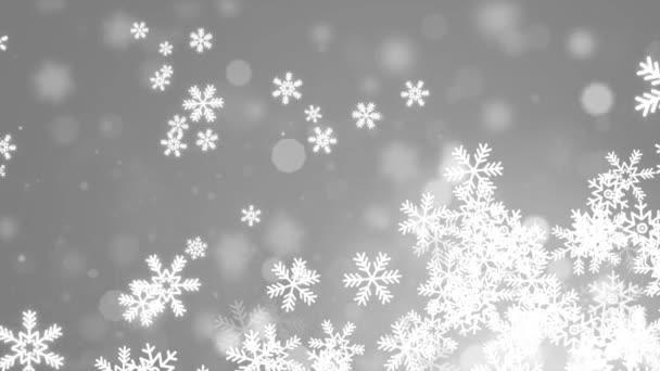 White Abstrakt padající sněhové vločky izolované na smyčce 4K pozadí. Vánoční design