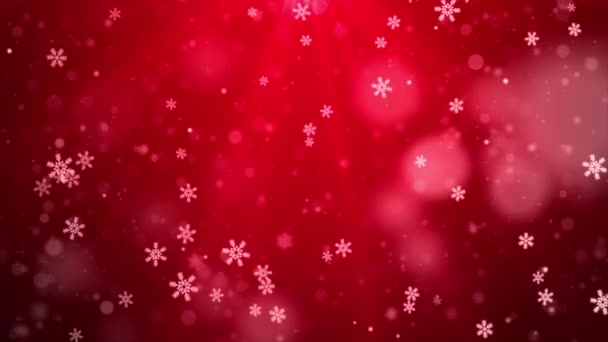 White confetti snowflakes and bokeh lights on the Red loop 4k 3D background.