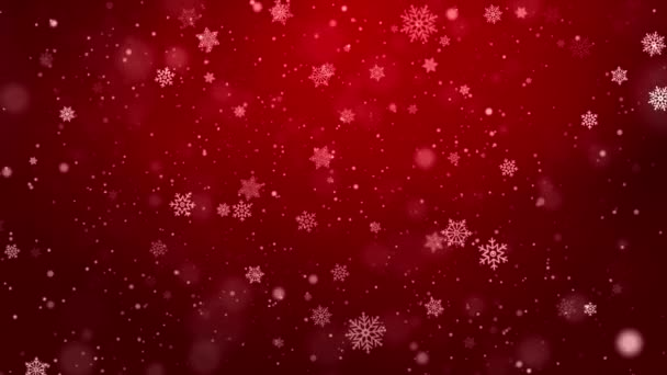 Flying snowflakes on a light Red loop background. Winter Abstract Falling snow.