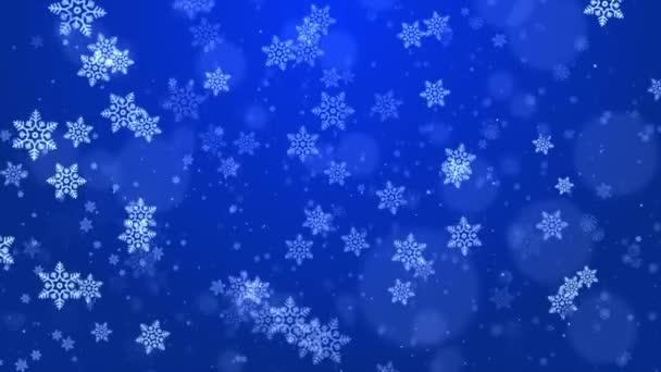 Abstrakt Létající sněhové vločky na světle modrém pozadí smyčky. Zimní sněhové vločky.