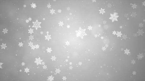 Fehér hó és fények Ünnepi hurok háttér fénysugarakkal