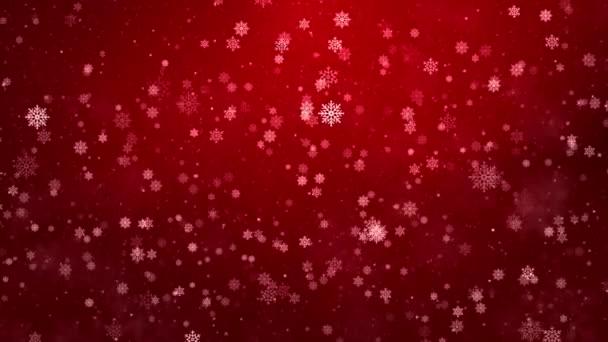 Velké vločky padající vířící červené částice. Zimní sněhová smyčka 3D 4K animace.