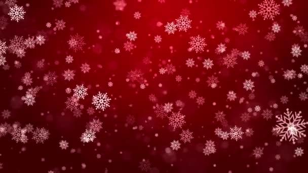 Vánoční vločky zářící, krásné červené padající sníh izolované smyčka pozadí.