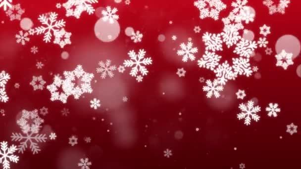Červené bokeh třpyt, Částice vločky sníh a lesk světla vánoční smyčka pozadí