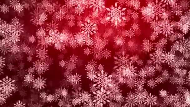 Animace padajících částic sněhové vločky na pozadí Sliver White Red Light Lens Flare Loop.