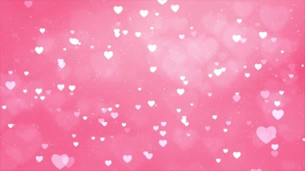 Absztrakt szívek Rózsaszín Részecske bokeh lebegő fekete képernyős háttér ciklus Animáció.