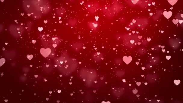 Abstract Red Romantic floating Hearts Animated loop Background