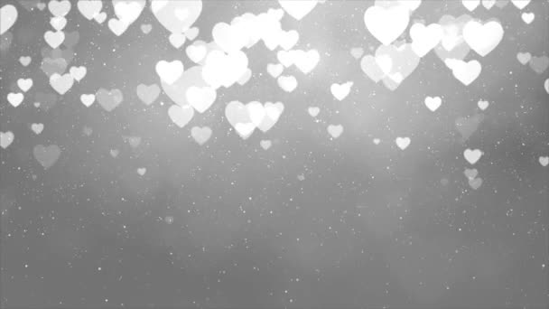 White love hearts bokeh sparkle glitter particle motion Loop background