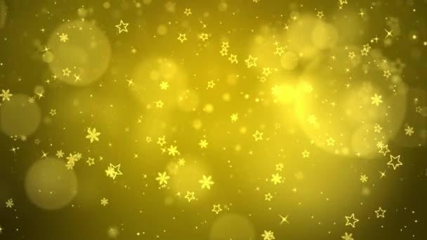 Zlaté sněhové vločky a Bokeh kouzelná světla smyčka 4k Video pozadí.