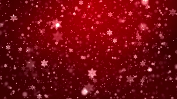 Red snowflakes flying in the air. Snow flakes, snow loop background.