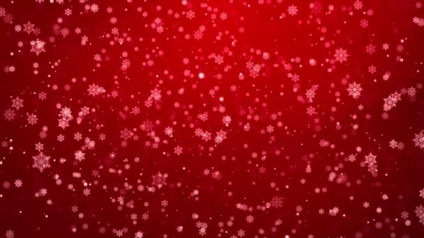 Červený sníh a světla Slavnostní smyčka pozadí se světelnými paprsky