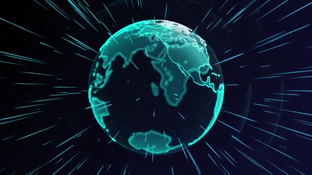 Animation der rotierenden Partikelerdkugel und des leuchtenden Lichtstrahls mit Alpha.