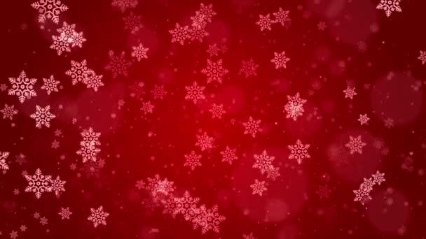Krásné zimní sníh rozmazané rozostřené červené smyčky pozadí
