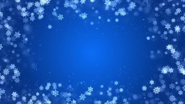 Modrá krásná lesklý sníh rám okraj rozmazané bokeh abstraktní smyčka pozadí.