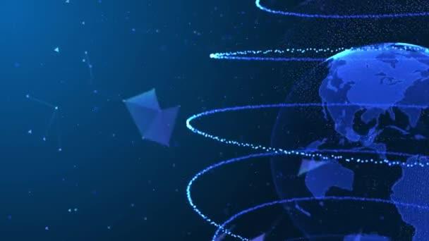 Digitális gömb Absztrakt Geometrikus Plexus Loop Animációs háttér Alpha Channel.