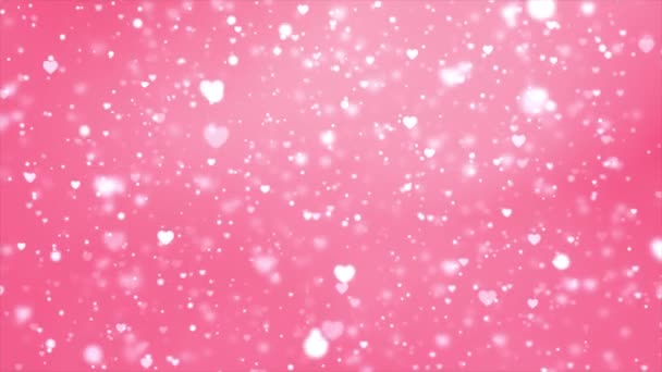 Abstract Shining bokeh hearts particles Motion Loop 4K background.