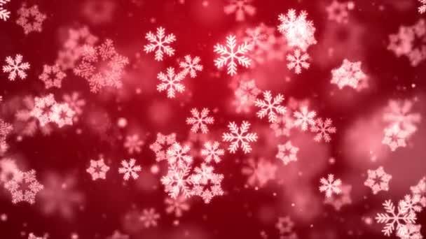 Vánoční pozadí zimy sněhové vločky padající pomalu dolů červená Světlo slavnostní gradient smyčka.