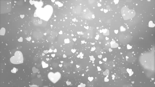 Rain of Hearts, Sunlight Streaks falling red Hearts Depth of Field Seamless Looping Animation.