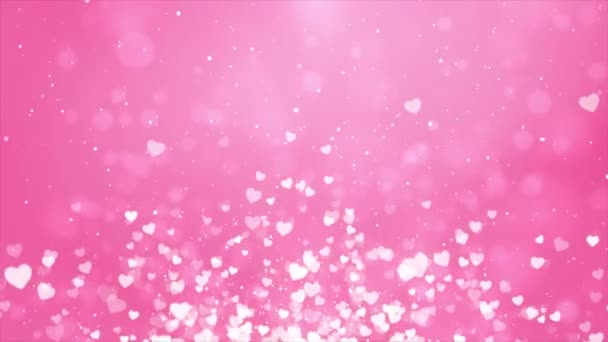 Pink Shining sparkles Rectangle frame abstract Loop Heart Particles background 4k