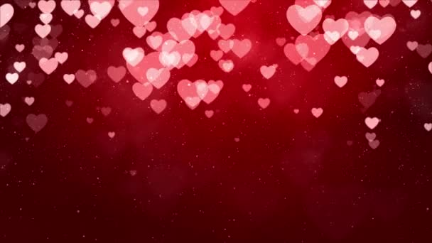 Red Valentines and Wedding Hearts loop background Animation 4k.