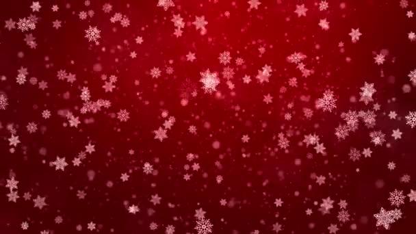 abstraktní sněhová vločka sníh smyčka bokeh rozmazané červené pozadí animace.