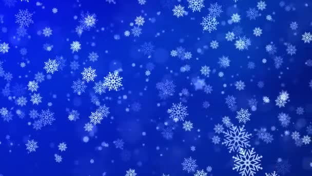 silné sněžení, sněhové vločky v různých tvarech. Sněhové vločky, sníh Smyčka pozadí.