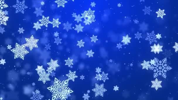 Velké vločky padající vířící modré částice. Zimní sněhová smyčka 3D 4K animace.