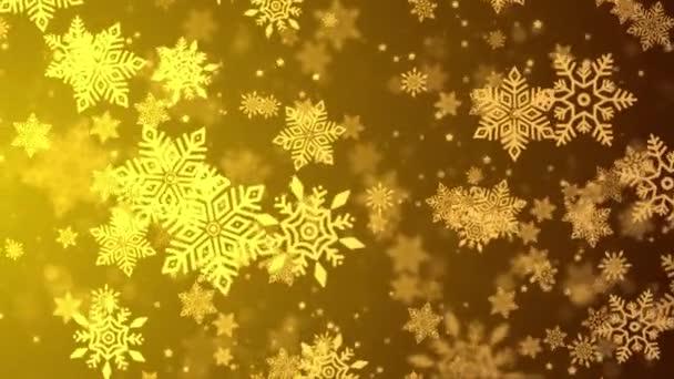 Zimní zlaté světlo s padajícím sněhem, vločka. Holiday Winter smyčka pozadí