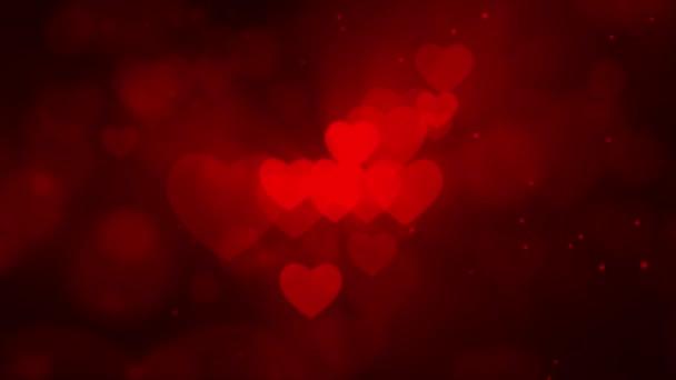 Absztrakt szívek Részecske Fade a bokeh lebegő fekete képernyős háttér Loop Animáció.