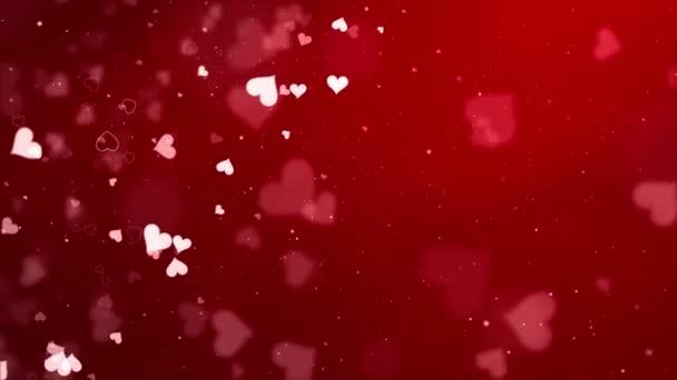 Abstraktní krásný létající kruh bokeh a světelný paprsek přes červenou smyčku pozadí animace.