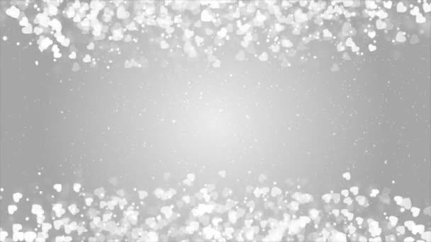Fehér Ragyogás szikrák Téglalap keret elvont hurok Szív részecskék háttér 4k