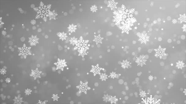 Rozmazané bokeh Bílé slabé sněžení, sněhové vločky, Sněhové vločky, Snow Loop pozadí.