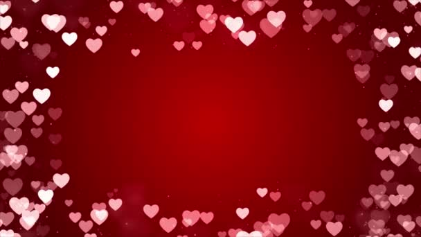 Abstract Bright red background with sparkling heart shapes Loop Animation.