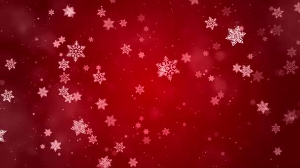 Vánoční smyčka pozadí zimní sněhové vločky padající pomalu dolů červené, slavnostní gradient animace