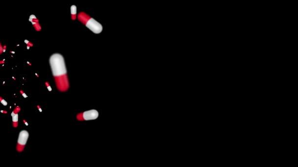 Red pills, vitamins and antibiotics rotate on a Black Loop background loop animation 3D 4K.