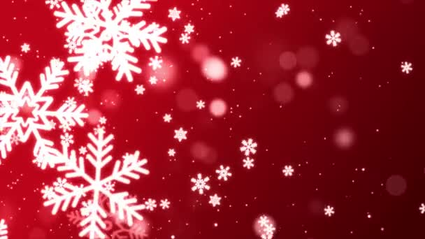 Red Snowflakes flying in air Light Snow flakes Loop Background Animation.
