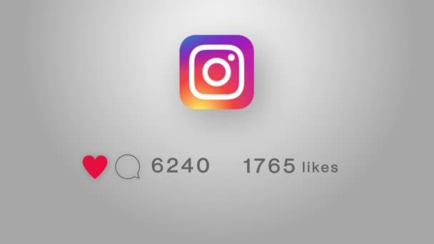 Instagram logo ikona s čítačem líbí, následovníci 4K 3D Green Screen Loop Animation.
