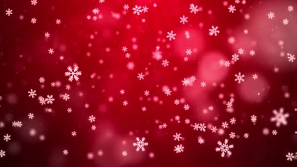 4k Bílé konfety sněhové vločky a bokeh světla na červenou smyčku animace