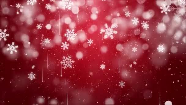 Sníh padající na modré obloze s červenými částicemi v zimě vánoční smyčka pozadí