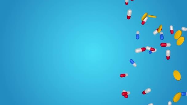 Sortiment farmaceutické medicíny pilulky, tablety a kapsle pádu Smyčka pozadí.