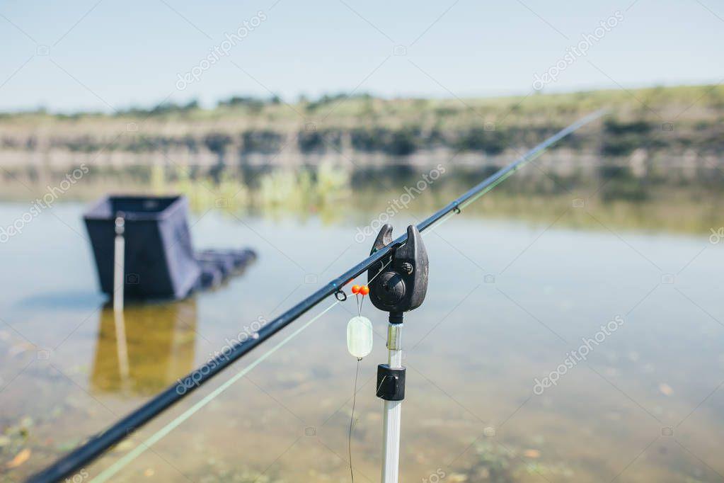 Fishing equipment rod wheel closeup